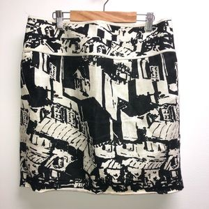 Tory Burch 6 black White Skirt gold buttons